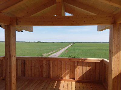 Bau Aussichtsturm im Trappenschutzgebiet